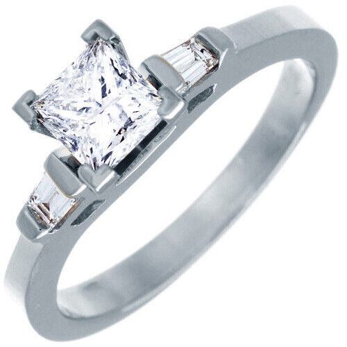 GIA Certified Diamond Three Stone Engagement Ring 1.10 CT Princess & Baguette  5
