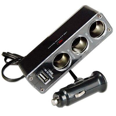 3 WAY MULTI SOCKET CAR CIGARETTE LIGHTER SPLITTER USB PLUG CHARGER DC 12V/2 F4I8