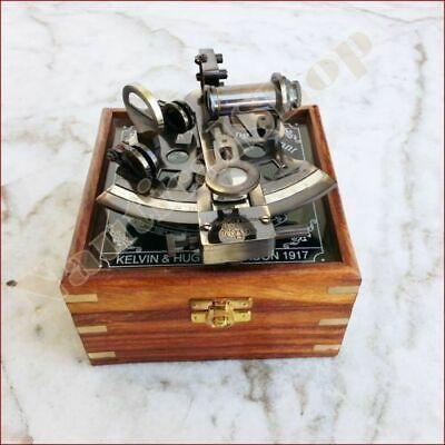 HANDMADE WOODEN BOX MARINE COLLECTIBLE BRASS NAUTICAL SEXTANT /& GERMAN ASTROLABE