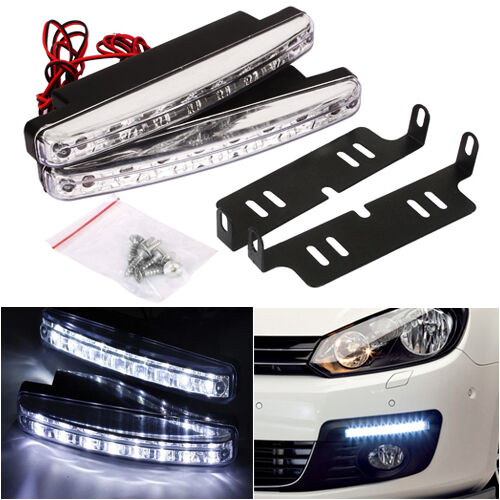 2X 12V 8 LED Daytime Running Lights DRL Car Fog Day Driving Universal White Lamp