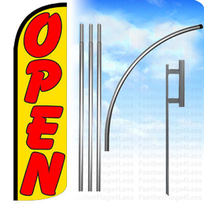 Open - Windless Swooper Flag Kit 15 Feather Banner Sign - Yq