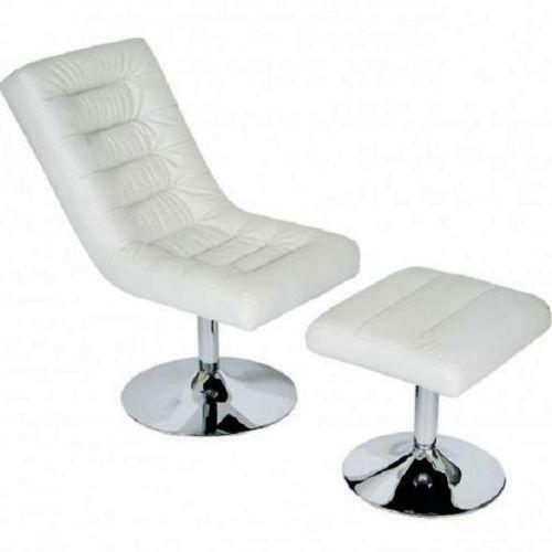 white faux leather chair ebay. Black Bedroom Furniture Sets. Home Design Ideas