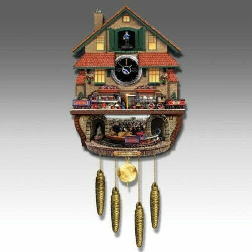 NEW Bradford Exchange Golden Spike Action/Sounds & Conductor Cuckoo Clock