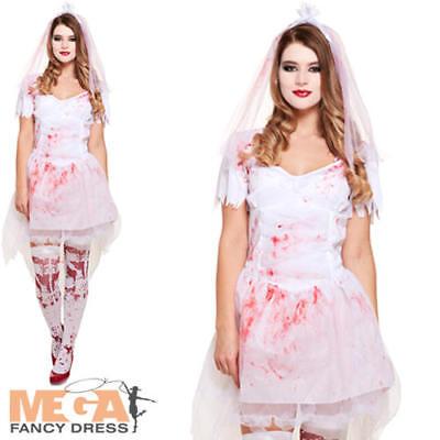 Bloody Bride Ladies Halloween Fancy Dress Ghostly Wedding Womens Adults - Bloody Bride Costume Halloween