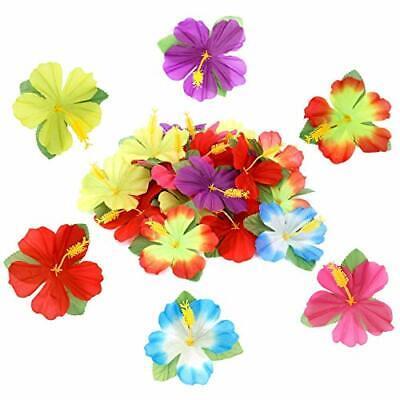 Silk Hibiscus Flowers (Hawaiian Set Artificial Silk Hibiscus Flowers Hawaiian Luau Tropical)