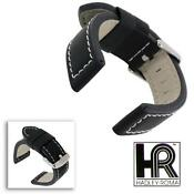 22mm Black Leather Watch Band