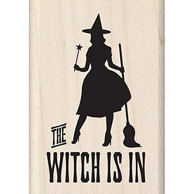 Inkadinkado Halloween Mounted Rubber Stamp, The Witch is in, 1.75 by 2.5-Inch - Inkadinkado Halloween Stamps