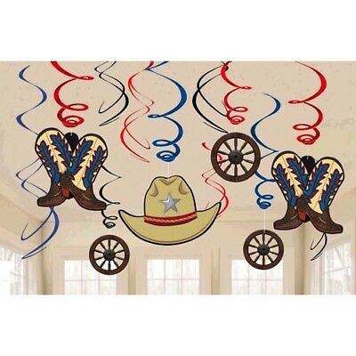 WESTERN Yeehaw HANGING SWIRL DECORATIONS ~ Birthday Party Supplies Country