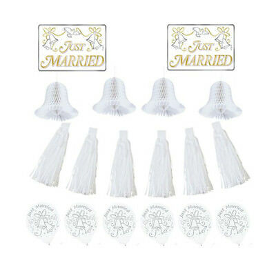 WEDDING AND BRIDAL Just Married CAR DECORATING KIT ~ Party Supplies Cutout  - Just Married Car Decorating Kit