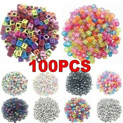 100PCS DIY Random Alphabet/Letter Acrylic Cube Spacer Loose Beads Jewelry - Letter Beads