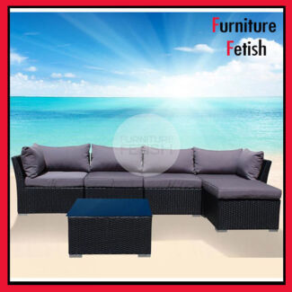 Outdoor Lounge Suite & Coffee Table Rattan Wicker Black/Charcoal Nerang Gold Coast West Preview