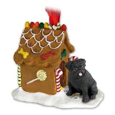 BLACK PUG GINGERBREAD DOG HOUSE Christmas ORNAMENT resin HAND PAINTED FIGURINE Black Gingerbread Dog House Ornament