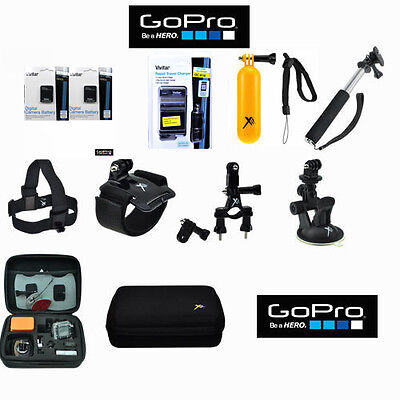 GOPRO HERO 3 3+ BATTERY 2X + CHARGER + MOTORCYCLE MOUNT + In toto completely ACCESSORY KIT