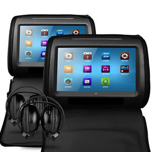 Universal-9-Leather-Style-Car-DVD-Headrests-with-HD-Screen-SD-USB-Audi-Q3-Q5-Q7