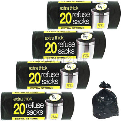 80 x Extra Thick Strong Black 70 Litre Large Refuse Sacks Waste Bags Bin Liners