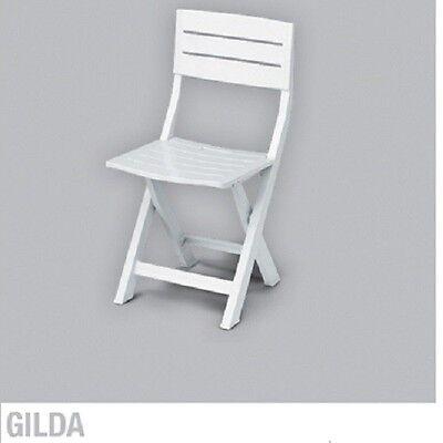 Silla Plástico Plegable Resina 100% - Modelo Gilda - Color Blanca
