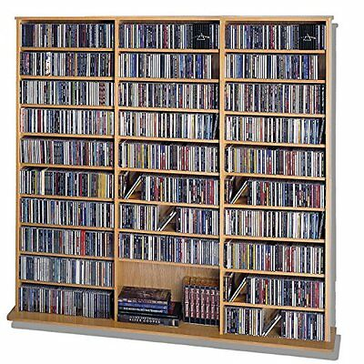 LDE LESLIE DAME Leslie Dame High Capacity Oak Veneer Multimedia Cabinet, Oak NEW