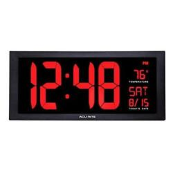 """AcuRite 75100 Large 18"""" Digital LED Wall Clock with Date, Temperature and"""