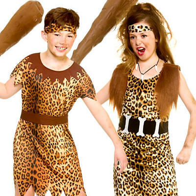 Stone Age Cave Kids Fancy Dress Animal Print Jungle Babarian Childrens Costumes](Stone Age Costumes)