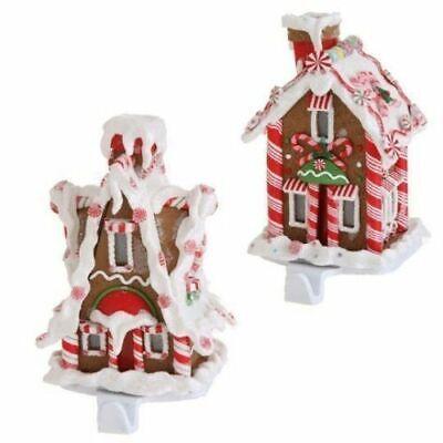 Set 2 NIB RAZ LED Gingerbread House CHRISTMAS STOCKING HOLDER Hangers Cast iron](Led Christmas Stockings)