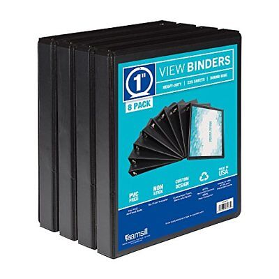 Samsill S88430 3 Ring Durable View Binders - 8 Pack 1 Inch Round Ring Non-sti