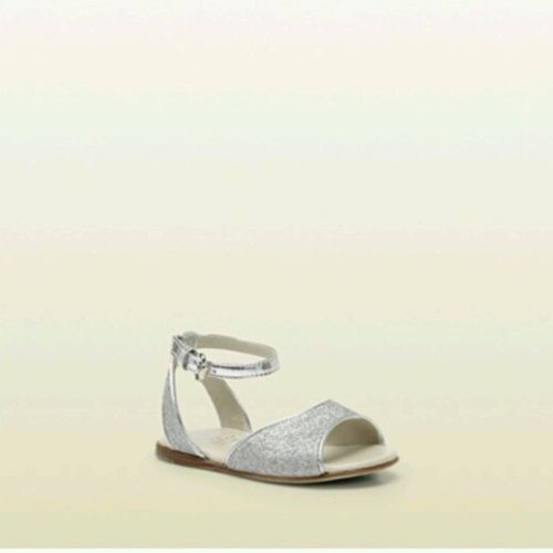 NIB NEW Gucci Girls silver sparkle fabric sandals shoes 20