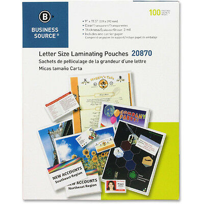 100 Letter Laminating Pouches 9 X 11.5 Laminator 3 Mil 20870 Business Source