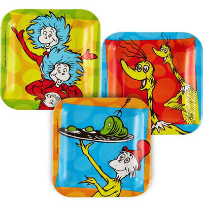 DR.SEUSS POLKA DOTS SMALL PAPER PLATES (8) ~ Birthday Party Supplies Cake Blue