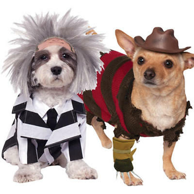 Halloween Dog Fancy Dress Beetlejuice Freddy Kruger Pet Puppy Movie Costumes (Movie Dog Kostüm)