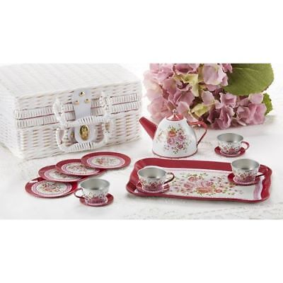 Tin 15pc Tea Set in Basket Peony