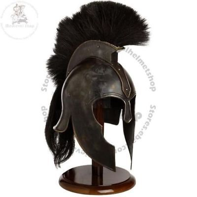 Achilles Troy Medieval Armor Helmet Halloween Costume With Black Plume