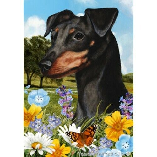 Summer House Flag - Uncropped Black and Tan Miniature Pinscher 18084