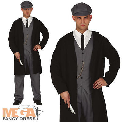 Mens 1920s Outfit (20s English Gangster Mens Fancy Dress 1920s Peaky Blinders Adults Costume)