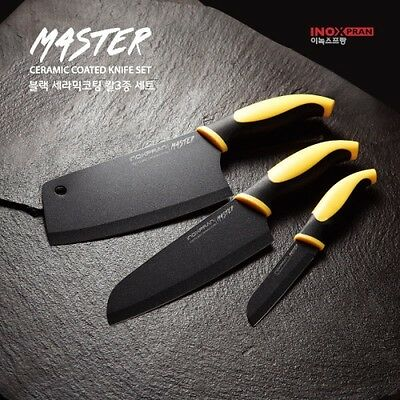 3Pcs SET Sharp Black Ceramic Coated Stainless Steel Chef Kitchen Knife Cutlery A