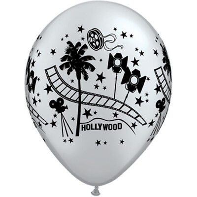 Silver Hollywood Stars themed birthday black air or helium party Latex Balloons