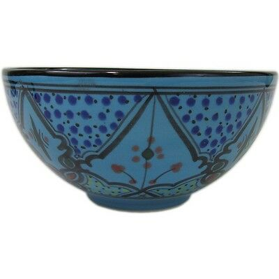 Le Souk Sabrine Medium Deep Serving Bowl 48oz Turquoise Ceramic Hand-Painted  Medium Deep Bowl
