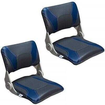 Boat Seat Combo 2 Blue & Charcoal Folding Compact Marine Uv Vinyl Treated -