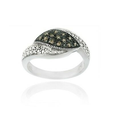 925 Silver 1/8ct. Champagne Diamond Pave Ring Size 5