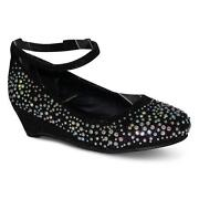 Girls Black Heels Size 1