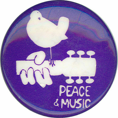 Woodstock Peace & Love 1989 VINTAGE Pinback - music hippie yippie political