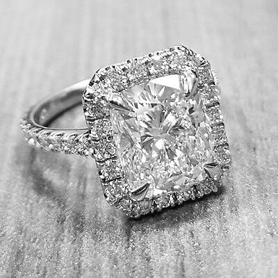 14k White 1.45 Ct. Halo Cushion Cut Diamond U-Pave Engagement Ring H, VVS1 GIA