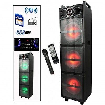 PORTABLE Party DJ PA 3 Speaker Subwoofer Sound System w/ FM USB SD BLUETOOTH NEW