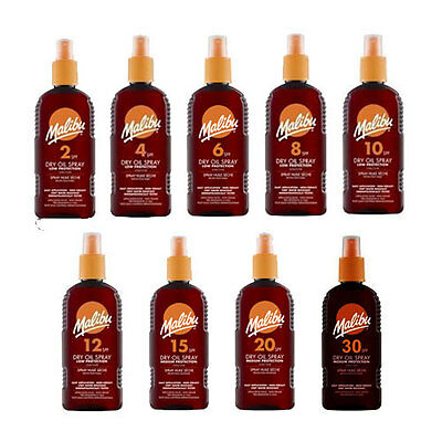 MALIBU SUN CREAM - DRY OIL  SUN TAN  SPRAY - 200ML CHOOSE FACTORS -1 FREE SEE AD