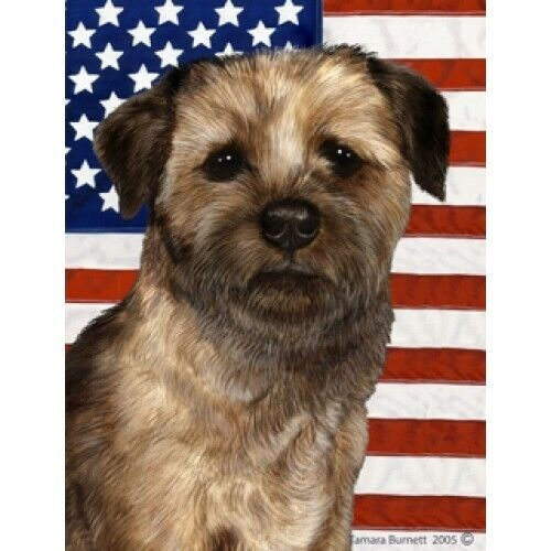 Patriotic (D2) House Flag - Border Terrier 32122