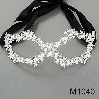 Clear Rhinestones Masquerade Mardi Gras Party  Mask With Black Ribbon M1040