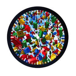 Lego Bricks Black Frame Wall Clock E29