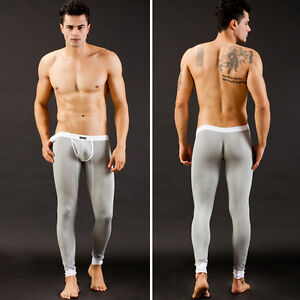 Mens-Sexy-Tight-Smooth-Thermal-Underwear-Bulge-Pouch-Long-Johns-Pants-S-M-L-HOT