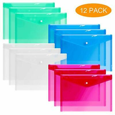 12 Plastic Envelopes Clear Document Folders Poly Envelope Transparent 4 Colors