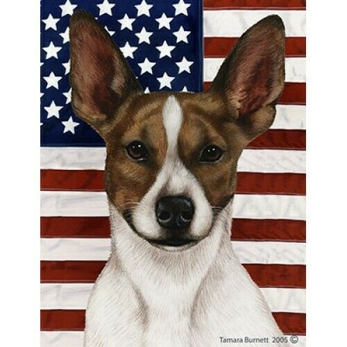Patriotic (D2) House Flag - Brown and White Rat Terrier 32130