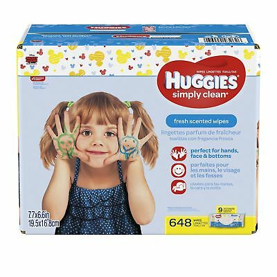 HUGGIES Simply Clean Baby Wipes Fresh Scent Soft Pack  648 Ct (Packaging May ...
